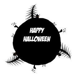 circular frame with happy halloween text vector image