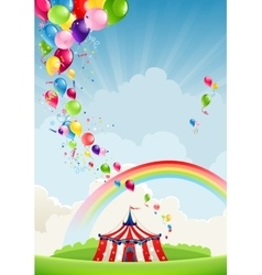 Circus rainbow and balloons vector
