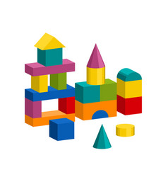 colorful blocks toy building tower castle house vector image