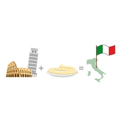 Colosseum and leaning tower of Pisa plus pasta vector