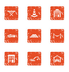 Communal service icons set grunge style vector
