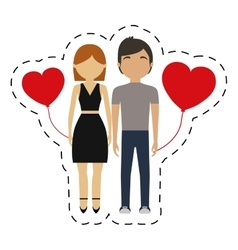 couple together red hearts balloon vector image