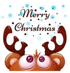 crazy cute deer merry christmas happy new year vector image