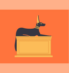 crouching or recumbent statue of anubis depicted vector image