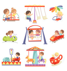 Cute boys and girls having fun at carousels and vector