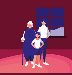 cute mother with daughter and grandmother vector image