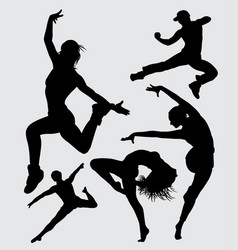 dancing silhouette vector image