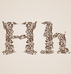 Decorated letter h vector image