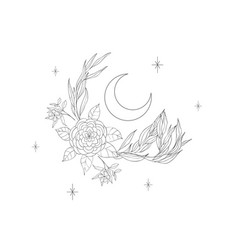 decorative mystery floral design with moon tattoo vector image