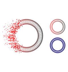 Disintegrating dot halftone double circle frame vector