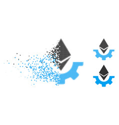 Dissolved dotted halftone ethereum industry gear vector