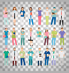 Doctors and nurses on transparent background vector