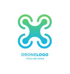 Drone tech logo template design vector