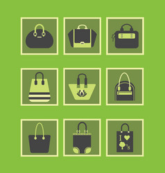 feminine green purses and hand bags icons set vector image