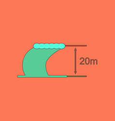 Flat icon stylish background wave height vector