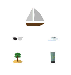 flat icon summer set of coconut yacht vector image