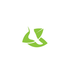 Footprint and health nature leaves bio care logo vector