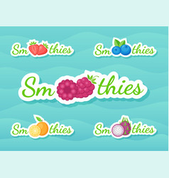 Fruit and berry smoothie drink label set design vector