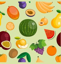 fruits exotic apple banana and papaya flat vector image