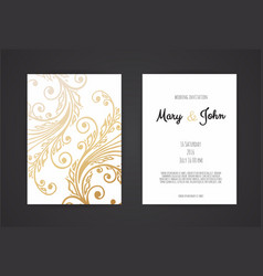 Golden invitation with floral elements vector
