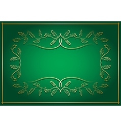 green and gold background with frame in center vector image