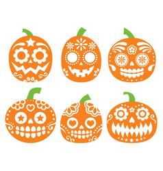 halloween pumpkin design - mexican sugar sk vector image