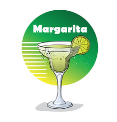 Hand drawn of cocktail margarita vector
