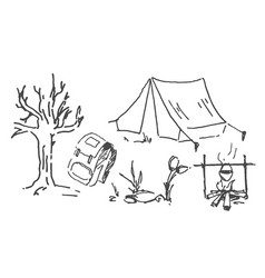 Hand drawn sketch of camping vector