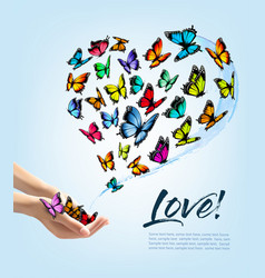 hands releasing butterflies vector image