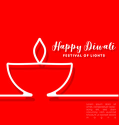 Happy diwali minimal design for flyer card vector