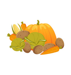 Heap pile group of autumn vegetables vector