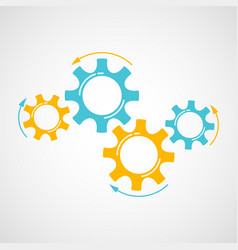 industrial cog and gear graphic in blue and orange vector image