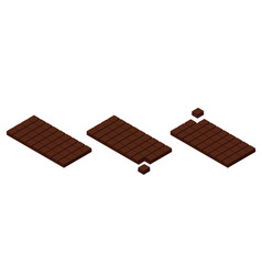 isometric chocolate bars and pieces vector image