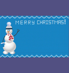 Knitted christmas template with snowman on blue vector
