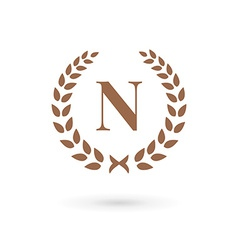 Letter N laurel wreath logo icon design template vector image