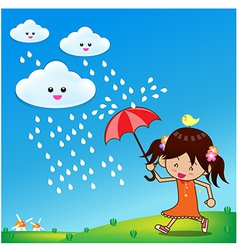 Little girl in rain day 001 vector image