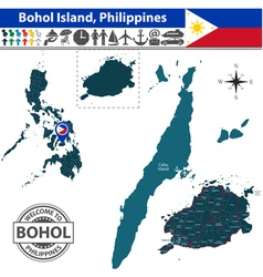 Map of Bohol island vector