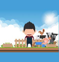 Men organic agriculture smart farm flat vector