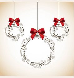Merry christmas balls decoration card vector