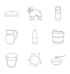 milk set icons in outline style big collection of vector image