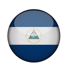nicaragua flag in glossy round button of icon vector image