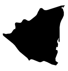 nicaragua - solid black silhouette map of country vector image