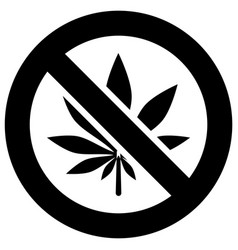 No marijuana forbidden sign modern round sticker vector