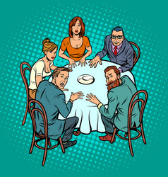 Occult seance people at the table vector