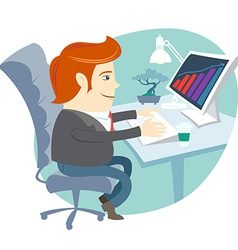 Office man sitting at his working desk vector