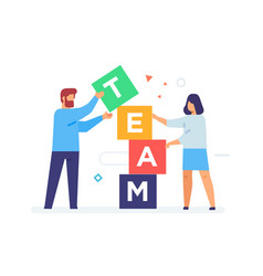 People stack cubes teamwork flat vector