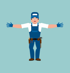 plumber happy fitter merry service worker vector image
