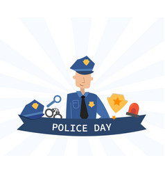police day concept with banner and officer vector image