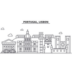 Portugal lisbon architecture line skyline vector