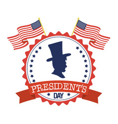 President day seal stamp with flags and gentleman vector